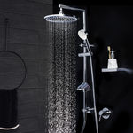 Luminous LED Round Rail Shower with Overhead